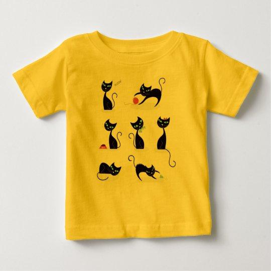 Designers t-shirt zazzle yellow with Black kittens