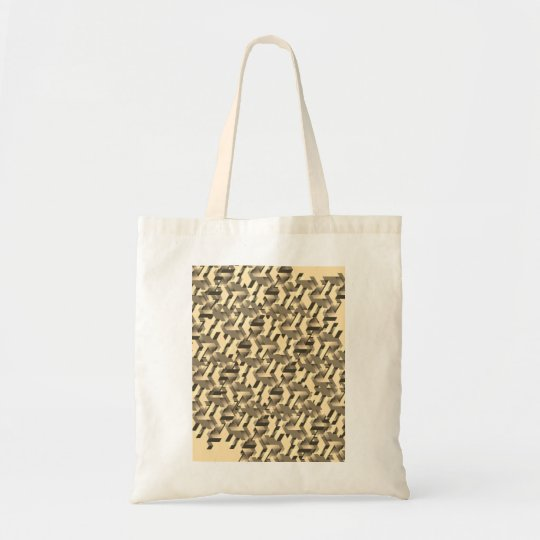 Designers tote bag with Beige techno art