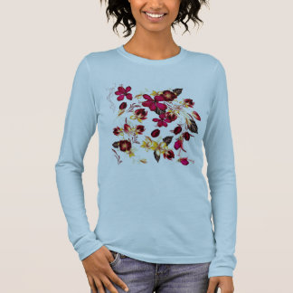 DESIGNERS TSHIRT BLUE with folk flowers