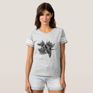 Designers tshirt in grey with Asia flowers