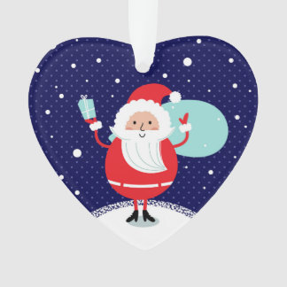 Designers winter Heart with Santa