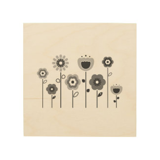 Designers wood Board with flowers Wood Print