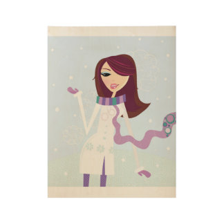 Designers wooden poster : Winter girl