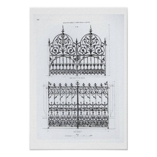 Designs for cast-iron railings, from 'Macfarlane's Poster