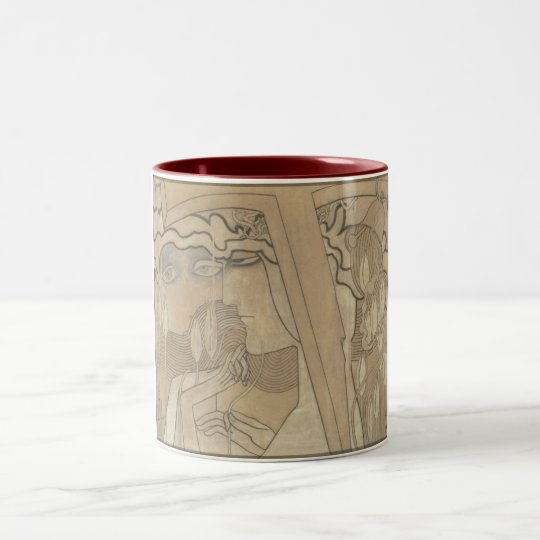 Desire and Satisfaction (1893) by Jan Toorop Two-Tone Coffee Mug
