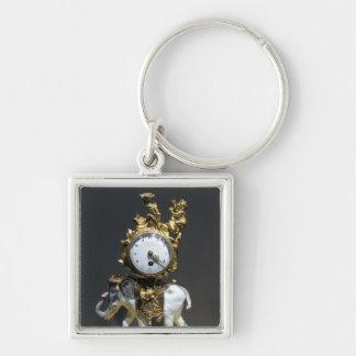 Desk clock Silver-Colored square key ring