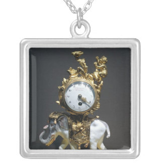 Desk clock silver plated necklace