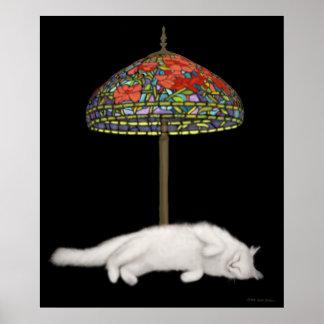 Desk Lamp Suntan Cat Poster