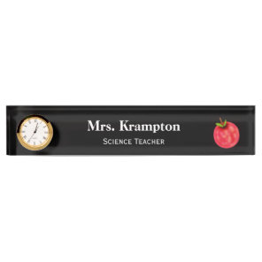 Desk Name Plate for Teachers with Clock