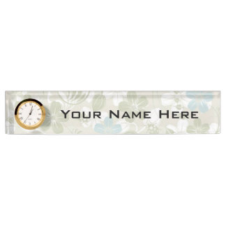 Desk Nameplate with Clock/Floral