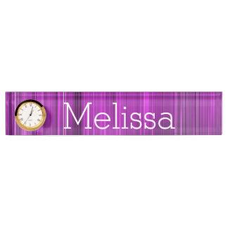 Desk Nameplate with Clock/Purple