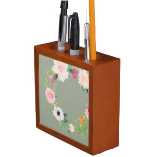 Desk Organiser, Watercolor Flower Wreath, Grey Pencil/Pen Holder