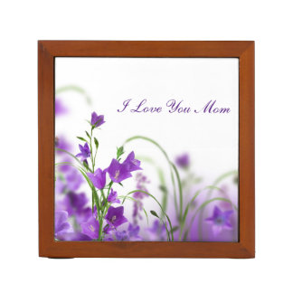 Desk Organizer--Purple Flowers-Horizontal Desk Organiser