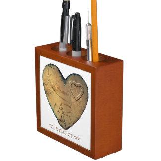 Desk Organizer Valentine - Heart in natural Wood
