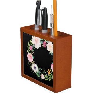 Desk Organizer, Watercolor Flower Wreath, Black Desk Organiser