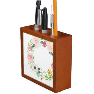Desk Organizer, Watercolor Flower Wreath Desk Organiser