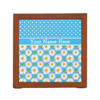 Desk Tidy to Personalize: Polkas, Daisies on Blue Desk Organiser