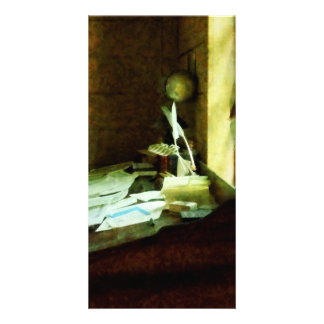 Desk With Quill and Papers Customized Photo Card