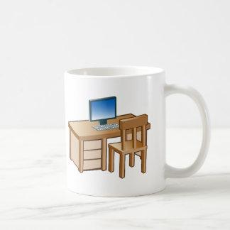 Desktop Computer Desk Icon Basic White Mug