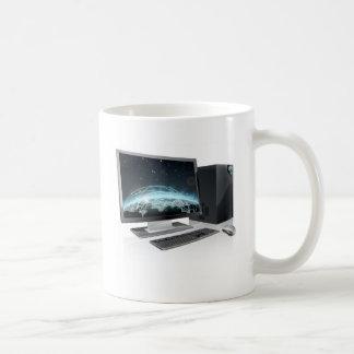 Desktop computer world globe coffee mugs