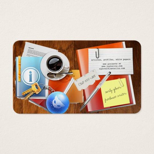 desktop freelance writer business card