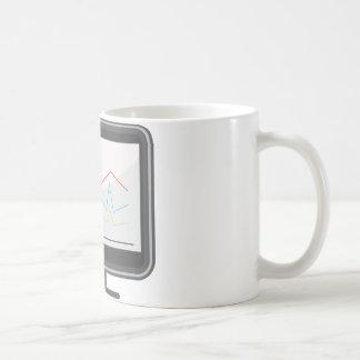 Desktop Monitor Financial Report Icon Basic White Mug