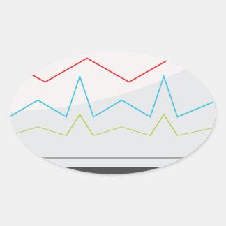 Desktop Monitor Financial Report Icon Oval Sticker
