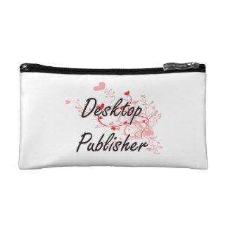 Desktop Publisher Artistic Job Design with Hearts Makeup Bag