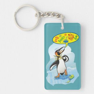 Desperate king penguin saying bad words key ring