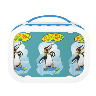 Desperate king penguin saying bad words lunch box