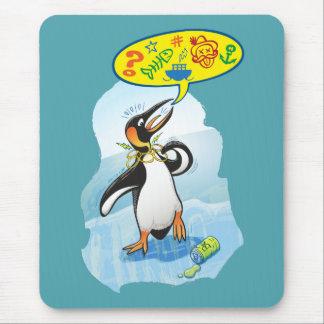 Desperate king penguin saying bad words mouse mat