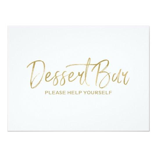 """Dessert bar"" Wedding Sign | Stylish Golden Card"