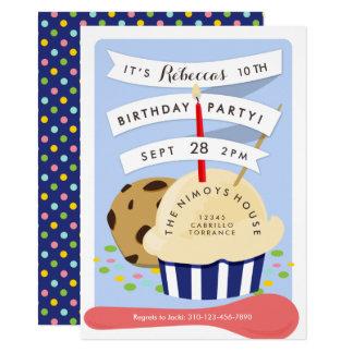 Dessert Kids Ice Cream  Birthday Party Card