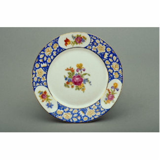 Dessert plate with colorful flower designs standing photo sculpture