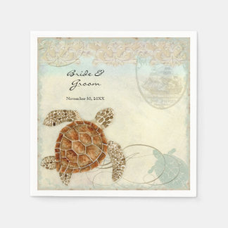 Dessert Reception Napkins Sea Turtle Ocean Beach Disposable Napkins