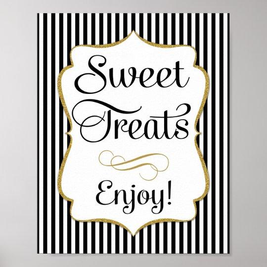 Dessert Sign Black Gold Sweet Treats