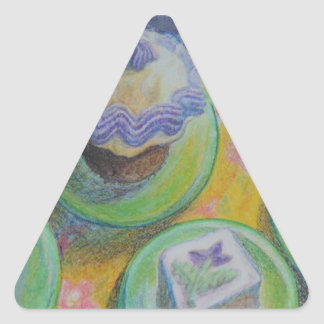 Desserts On Plates Triangle Sticker