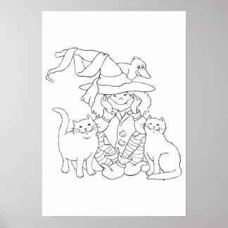 Dessin � colorier pour Halloween - Posters