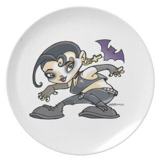 dessin jeune fille gothic assiette pour soirée