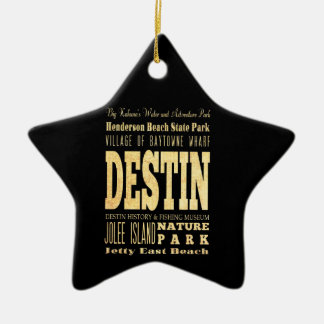 Destin City of Florida Typography Art Christmas Ornament