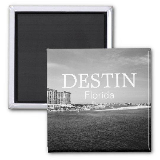 Destin Florida bay harbour black & white magnet