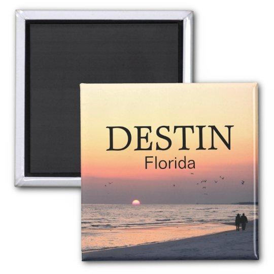 Destin Florida sunset - Couple walking - Magnet