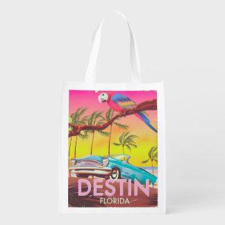 Destin Florida USA vintage travel poster. Reusable Grocery Bag