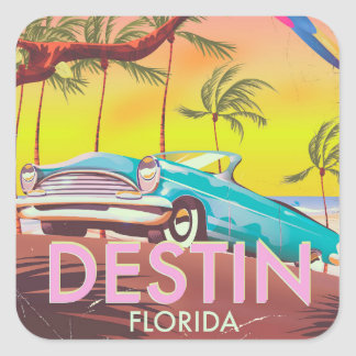 Destin Florida USA vintage travel poster. Square Sticker