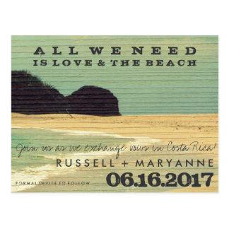 Destination Beach Wedding Save the Date Postcards