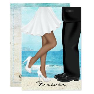 Destination Beach Wedding with Bride and Groom 13 Cm X 18 Cm Invitation Card