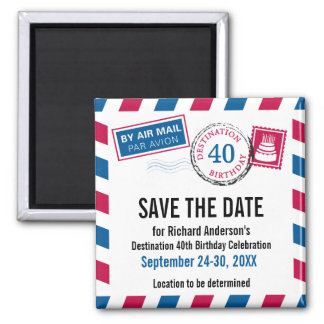 Destination Birthday Airmail Save the Date Square Magnet