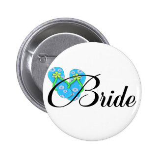 Destination Bride Flip Flop Blue 6 Cm Round Badge