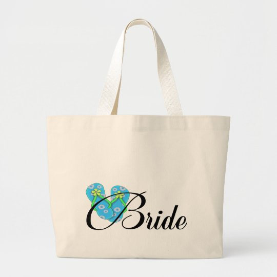Destination Bride Flip Flop Blue Large Tote Bag