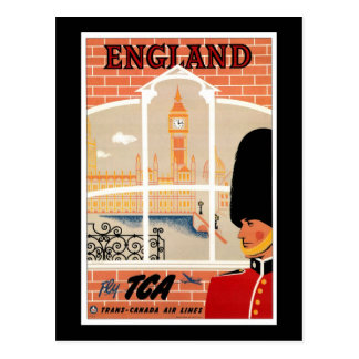 Destination: England Travel Poster Postcard